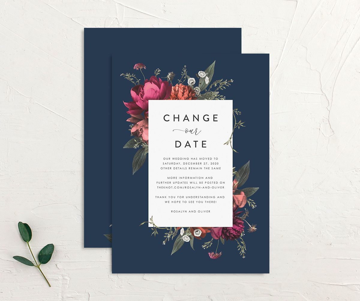 Blooming Botanical change the date front and back blue