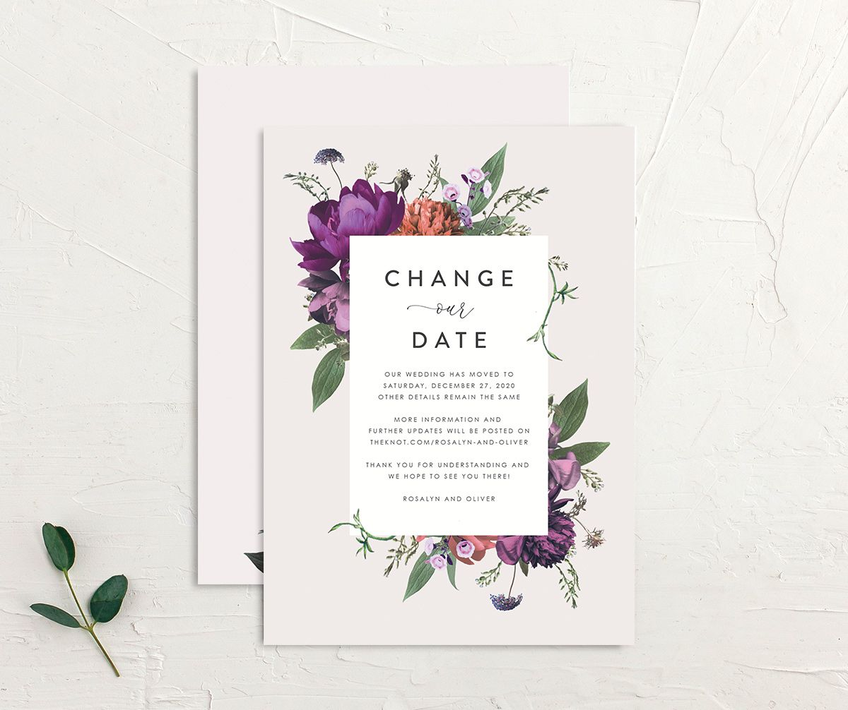 Blooming Botanical change the date front and back purple
