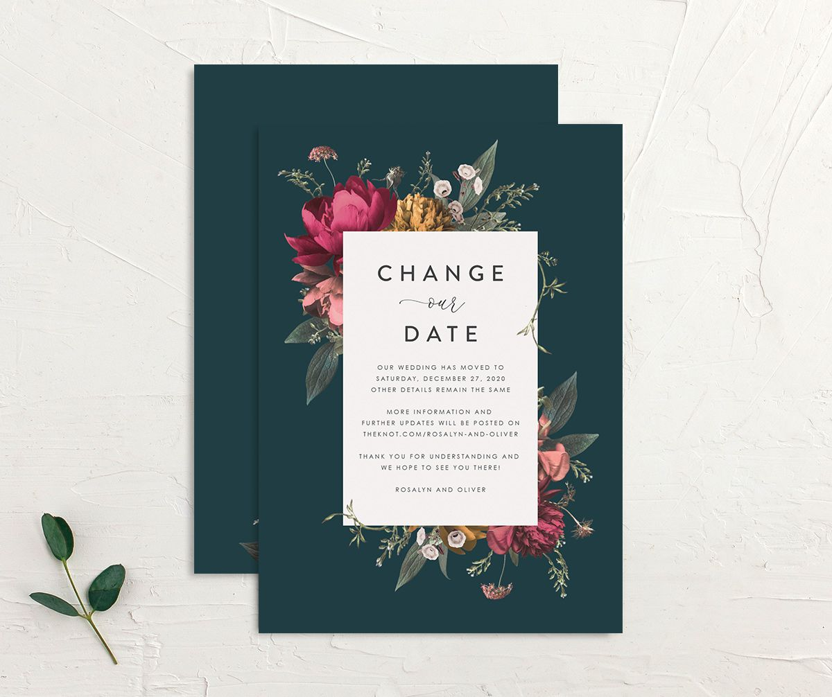 Blooming Botanical change the date front and back teal