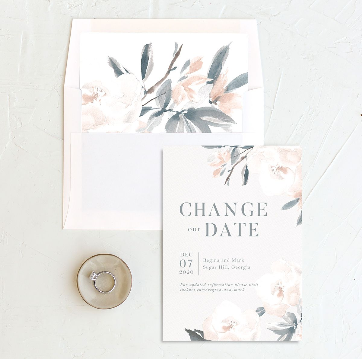 Elegant Garden change the date card with liner blue