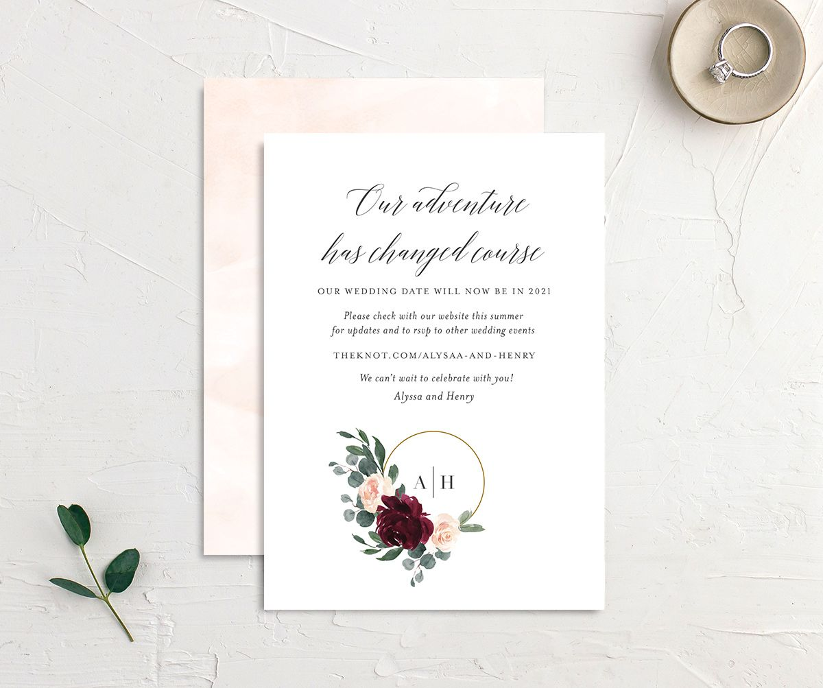 Floral Hoop change the date card front and back