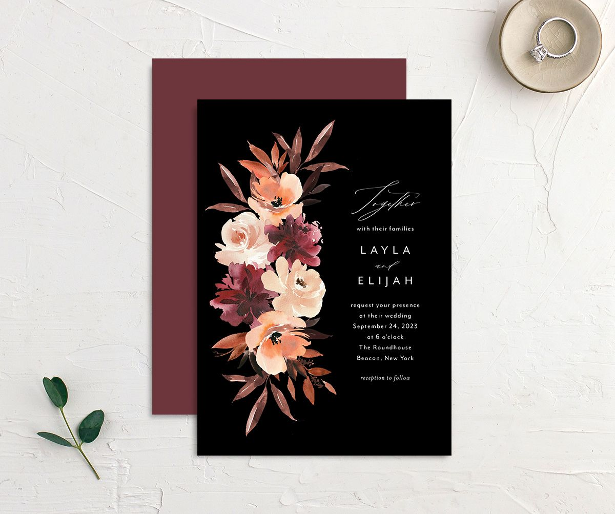 Leafy Floral wedding invitation front and back