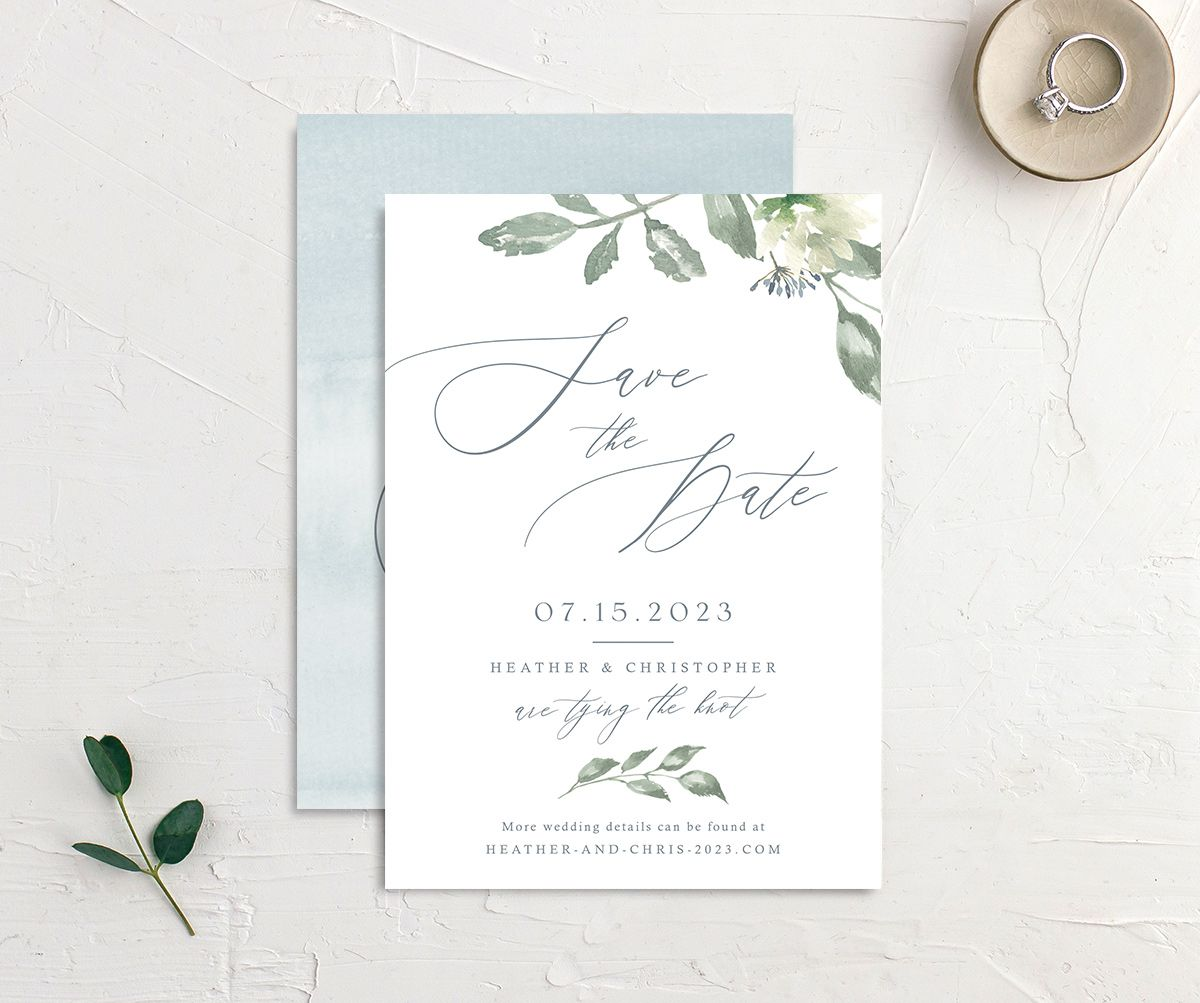 Dusted Calligraphy Wedding Save the Date Card Front and Back Blue