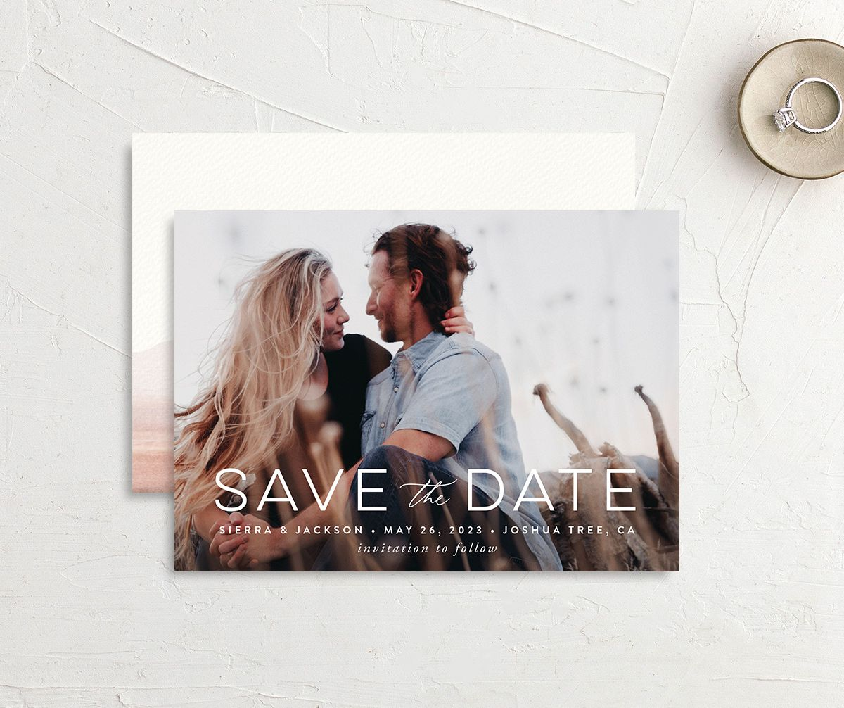 Painted Desert Save the Date Card Front and Back Pink