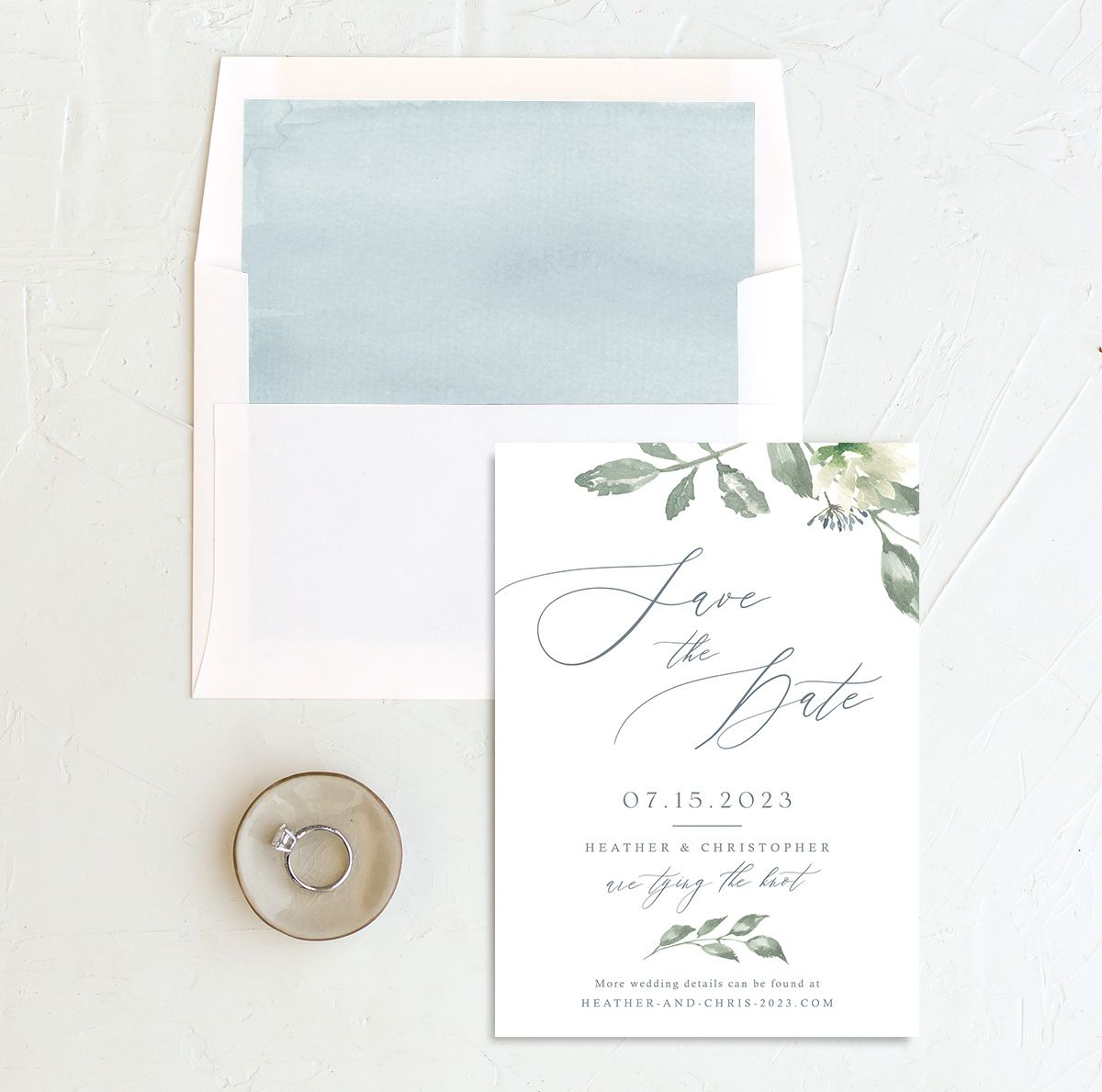 Dusted Calligraphy Wedding Save the Date Card Front and Envelope Liner Blue
