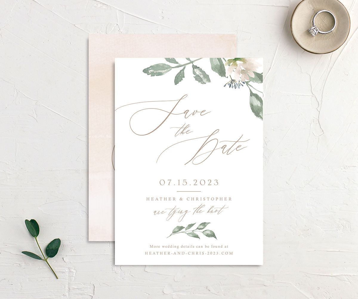 Dusted Calligraphy Wedding Save the Date Card Front and Back Pink