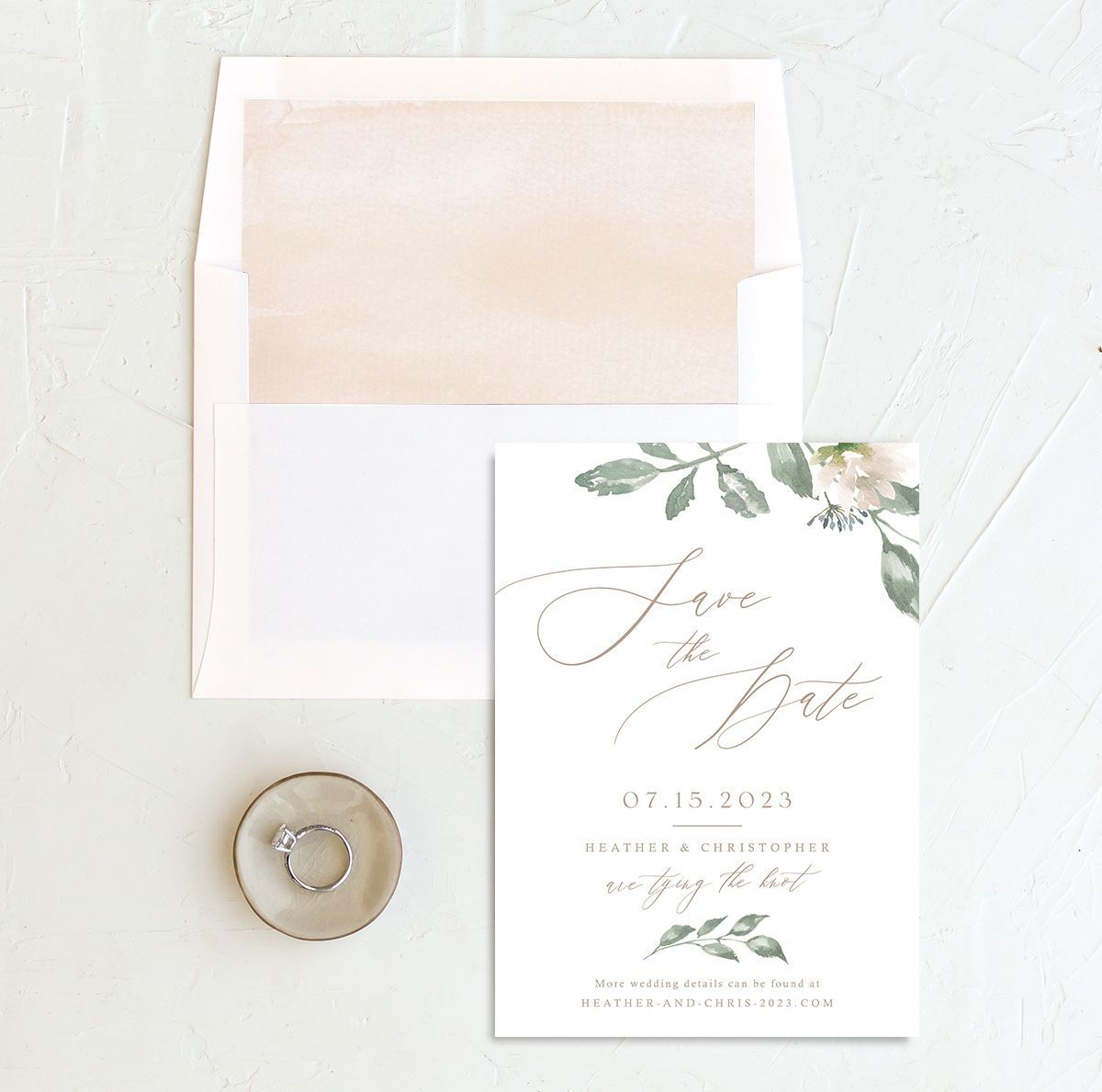 Dusted Calligraphy Wedding Save the Date Card Front  and Envelope Liner Pink