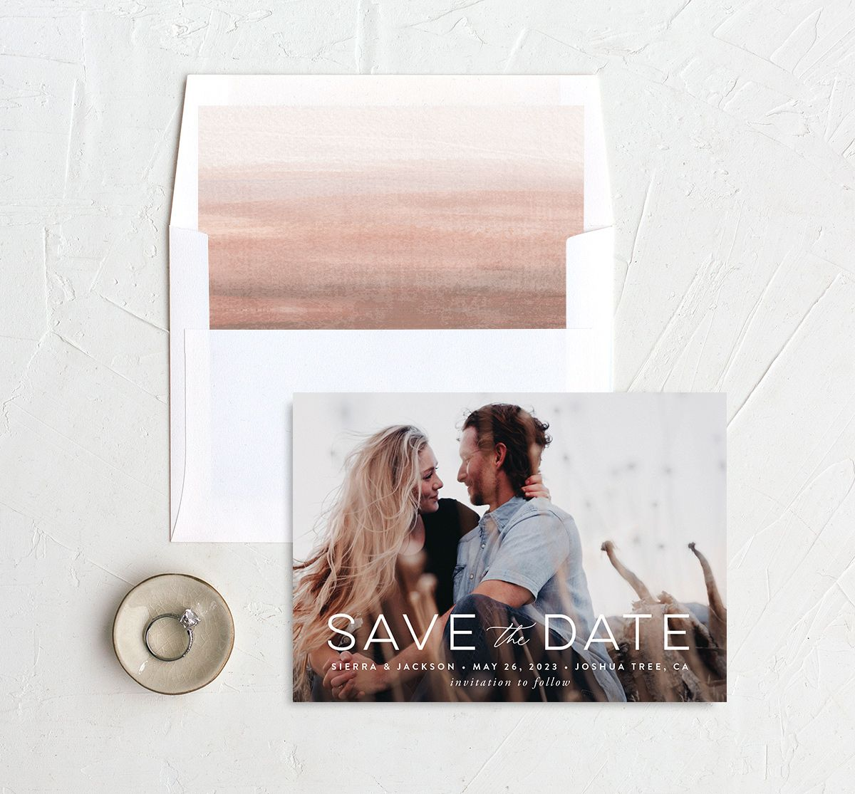 Painted Desert Save the Date Card and Envelope Liner Pink