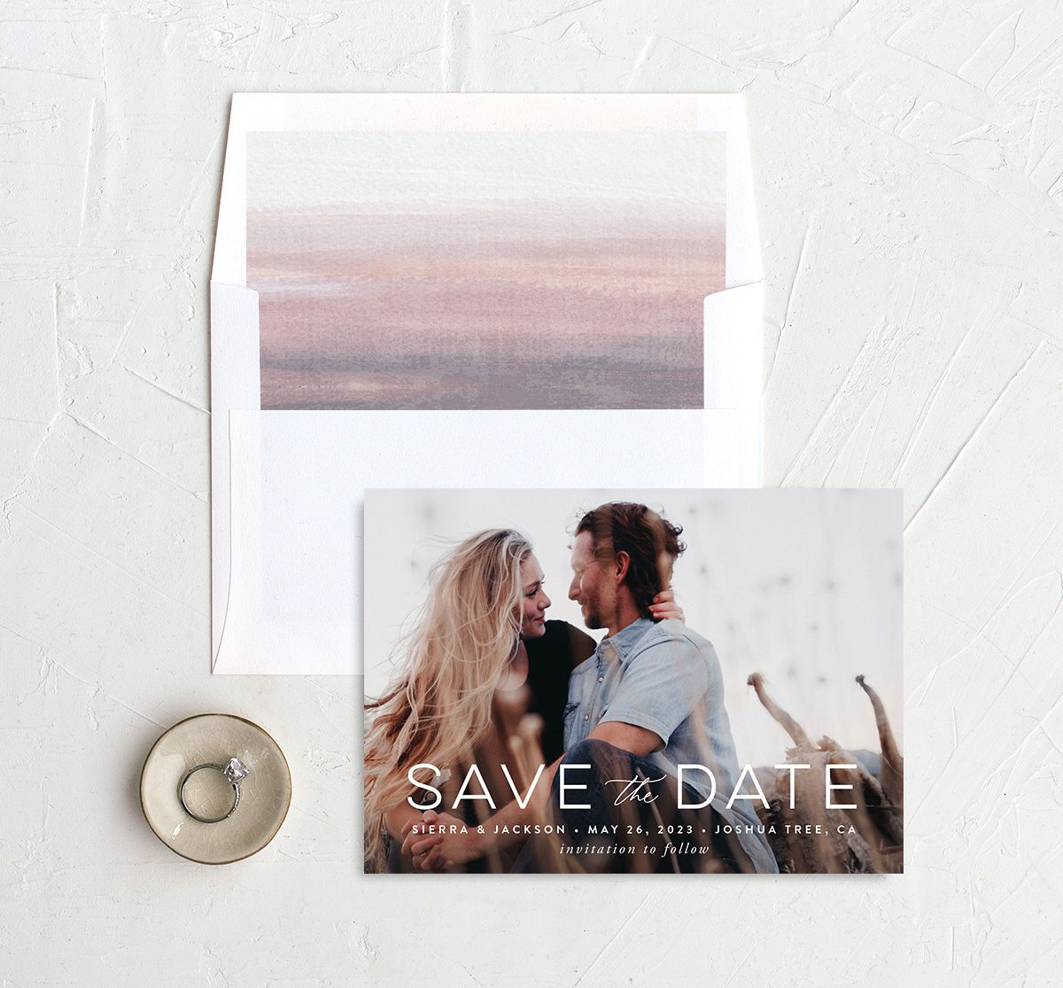 Painted Desert Save the Date Card and Envelope Liner Purple