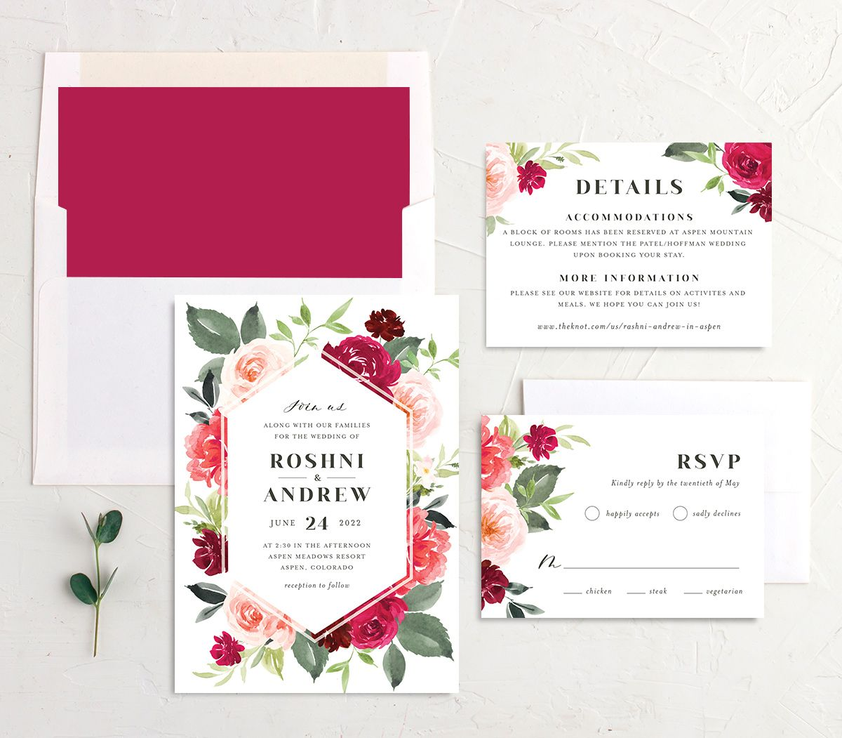 Vibrant Floral wedding invite suite shown in pink