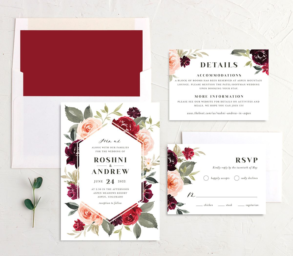 Vibrant Floral wedding invite suite shown in red