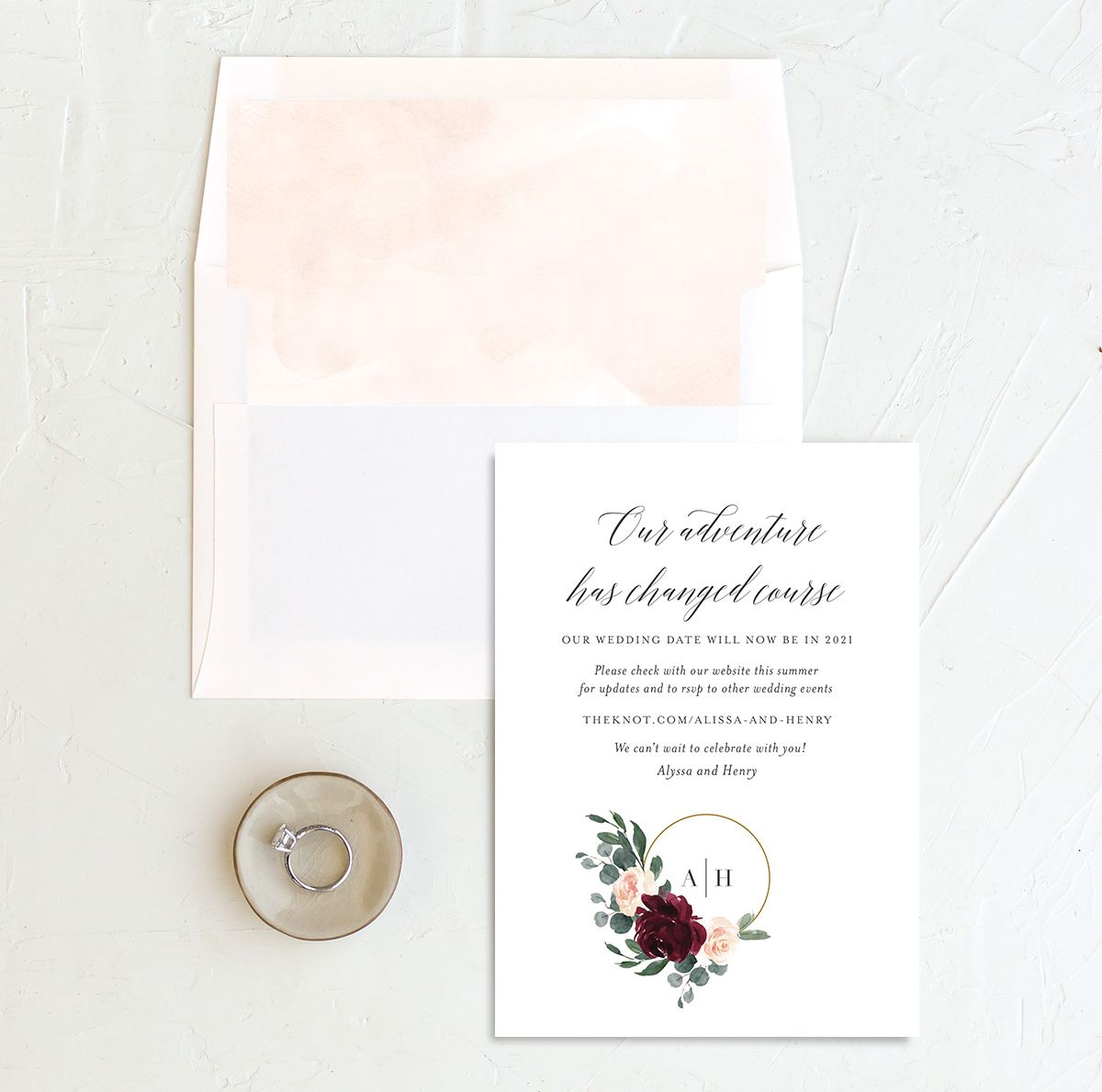 Floral Hoop change the date card with liner