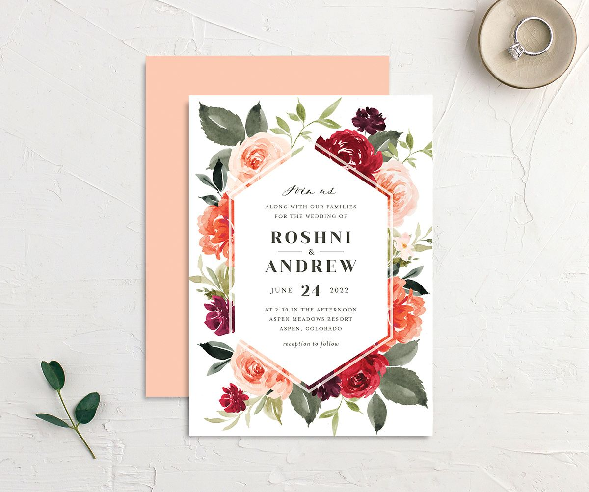Vibrant Floral wedding invite front & back in orange