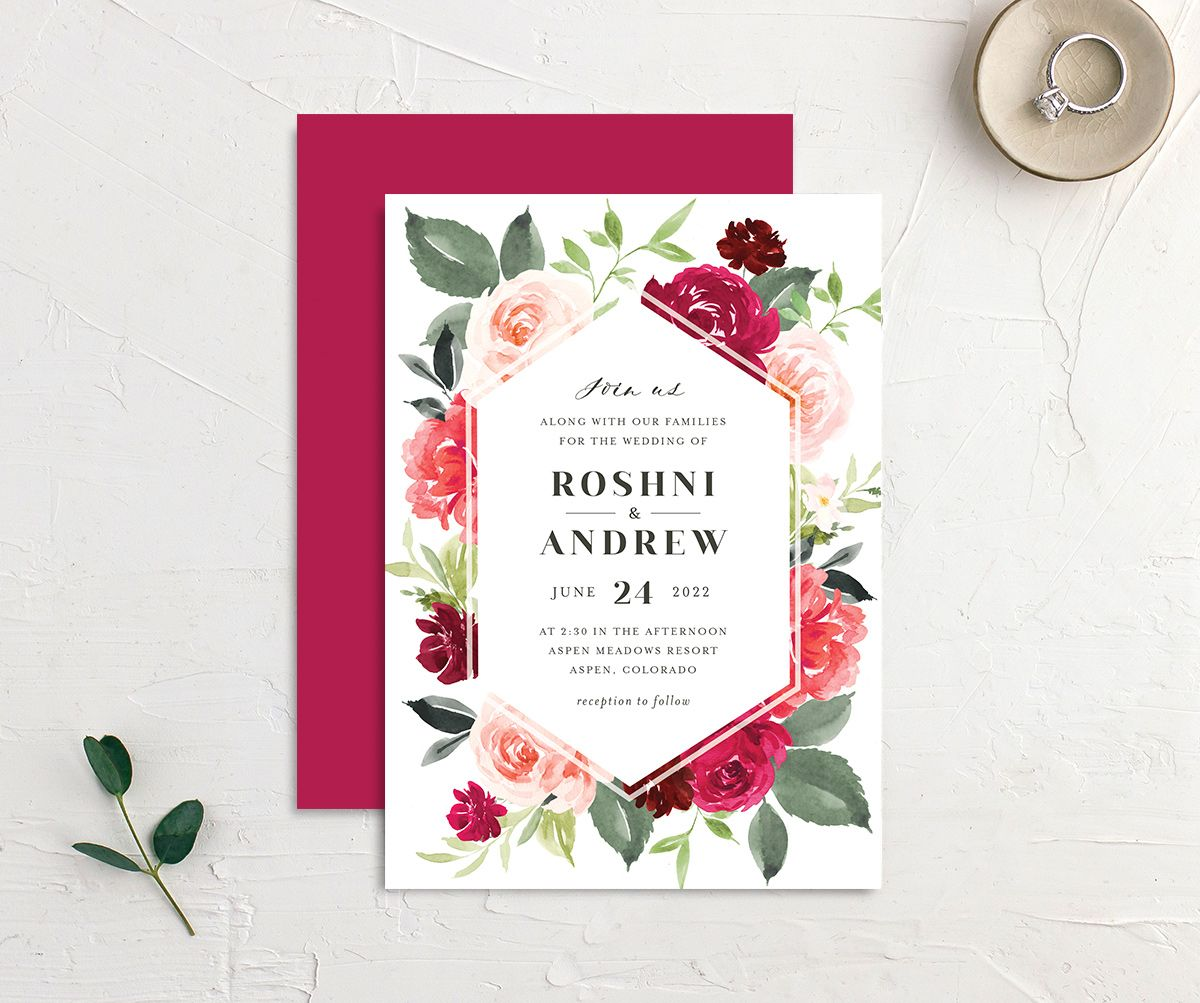 Vibrant Floral wedding invite front & back in pink