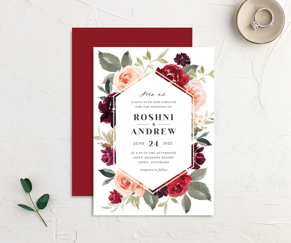 Vibrant Floral wedding invite front & back in red