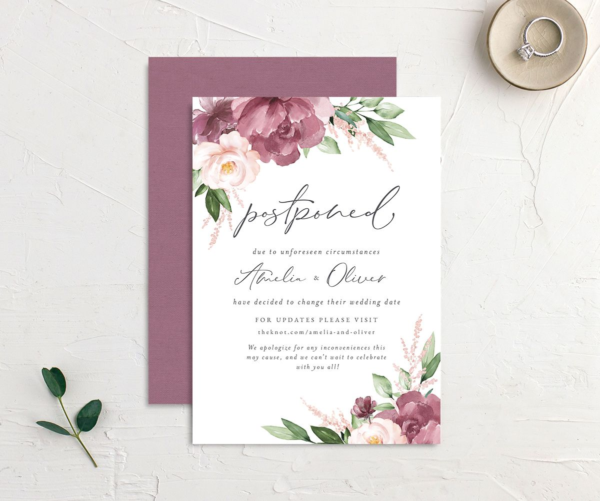 Beloved Floral change the date card front & back in purple