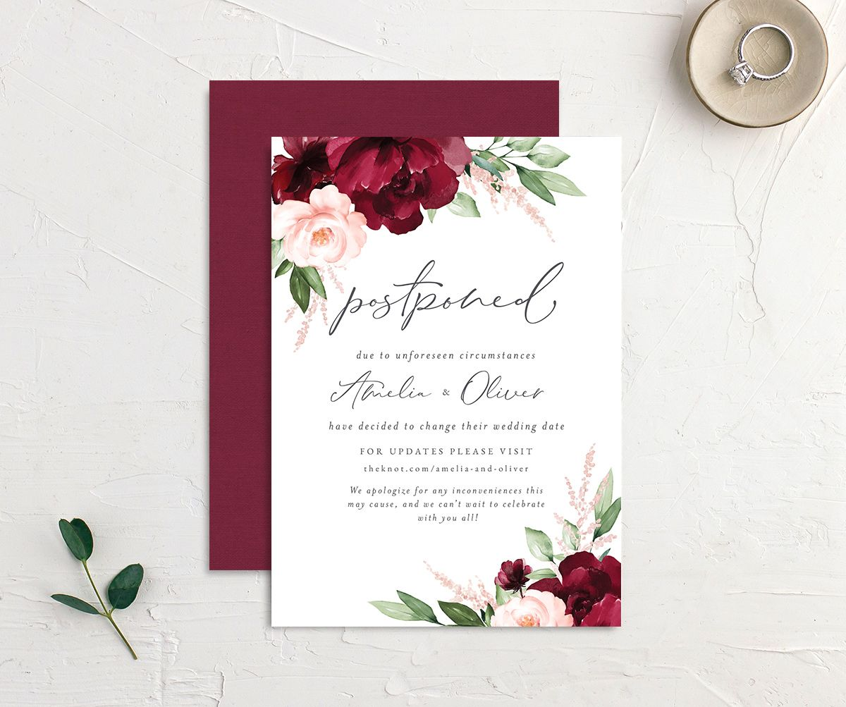 Beloved Floral change the date card front & back in red