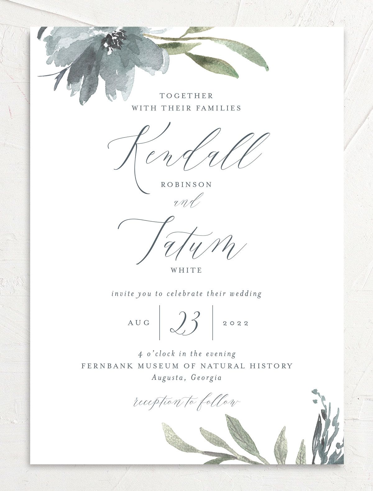 Muted Floral Wedding Invitation front blue