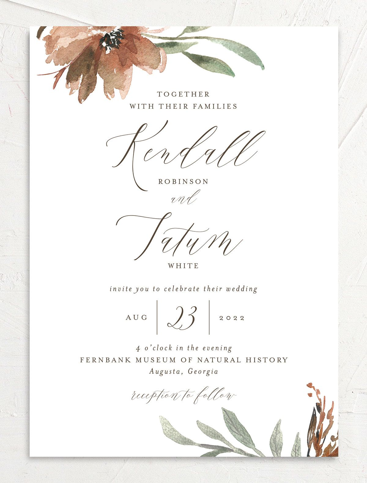 Muted Floral Wedding Invitation front copper