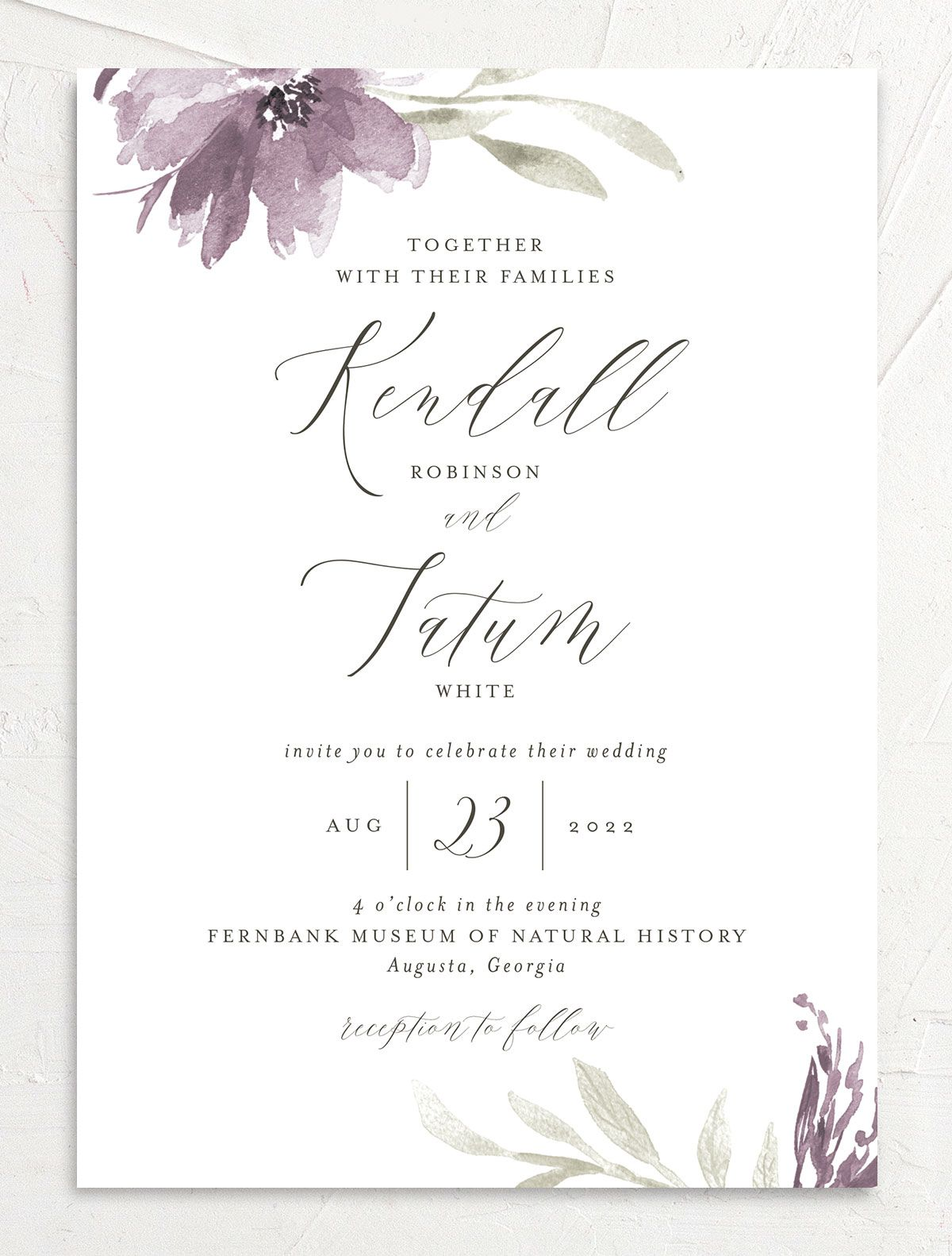 Muted Floral Wedding Invitation front purple
