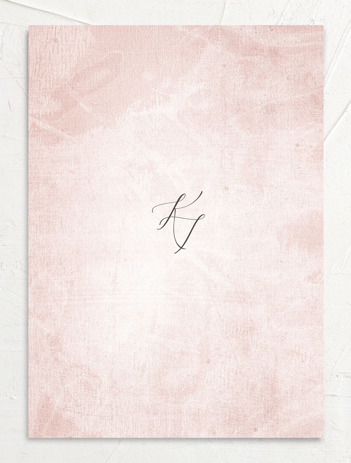 Muted Floral Wedding Invitation back pink