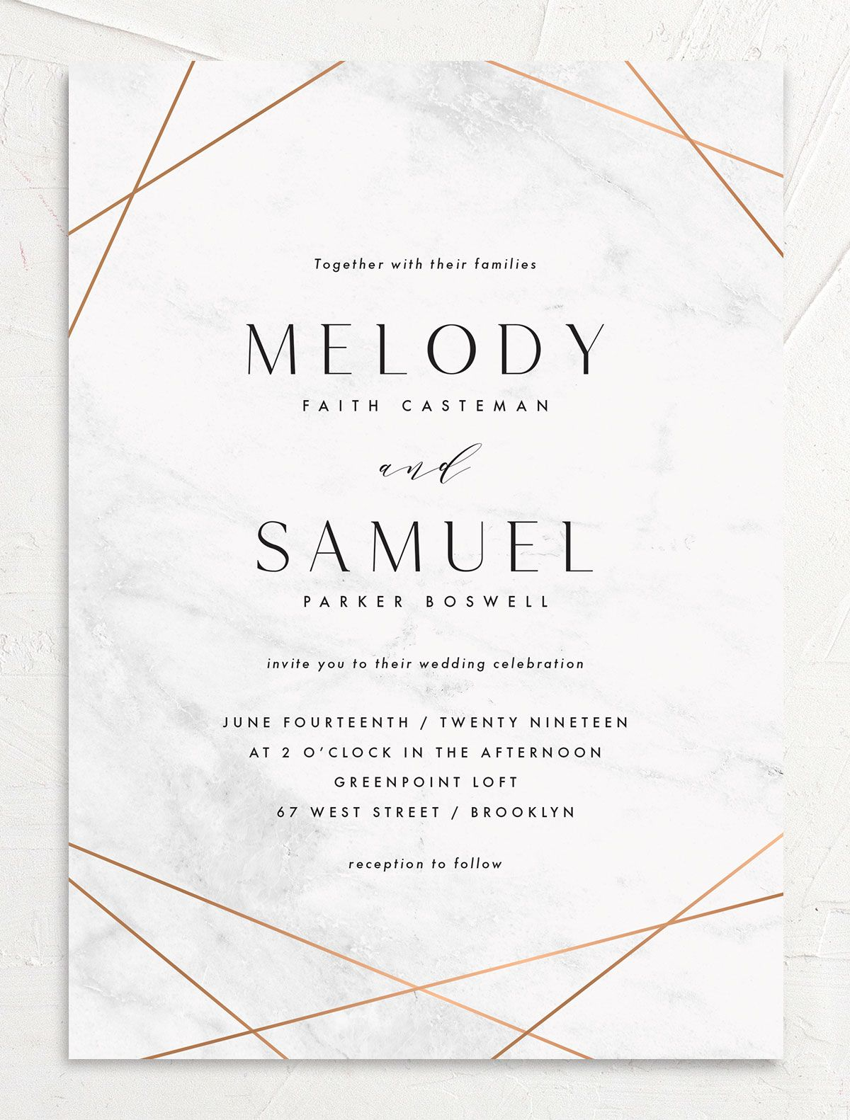 Geometric Marble Wedding Invitation front