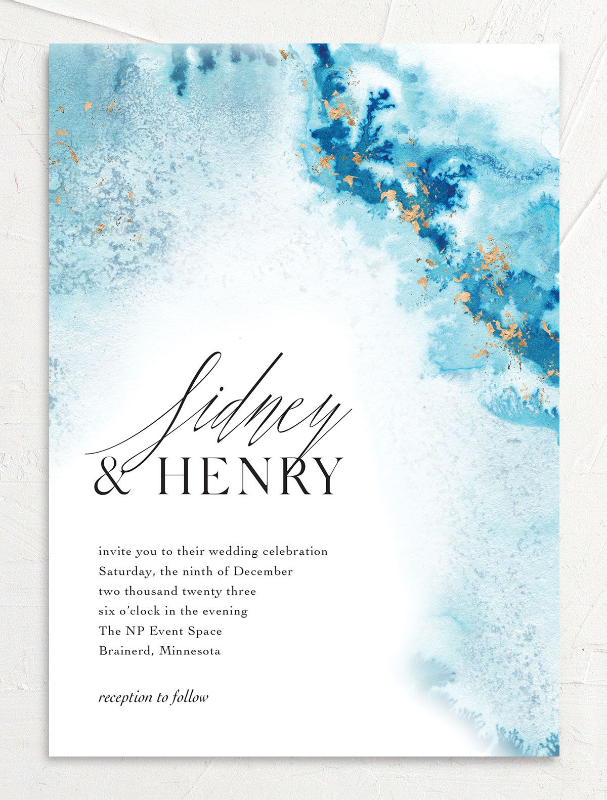 Painted Ethereal Wedding Invitation front blue