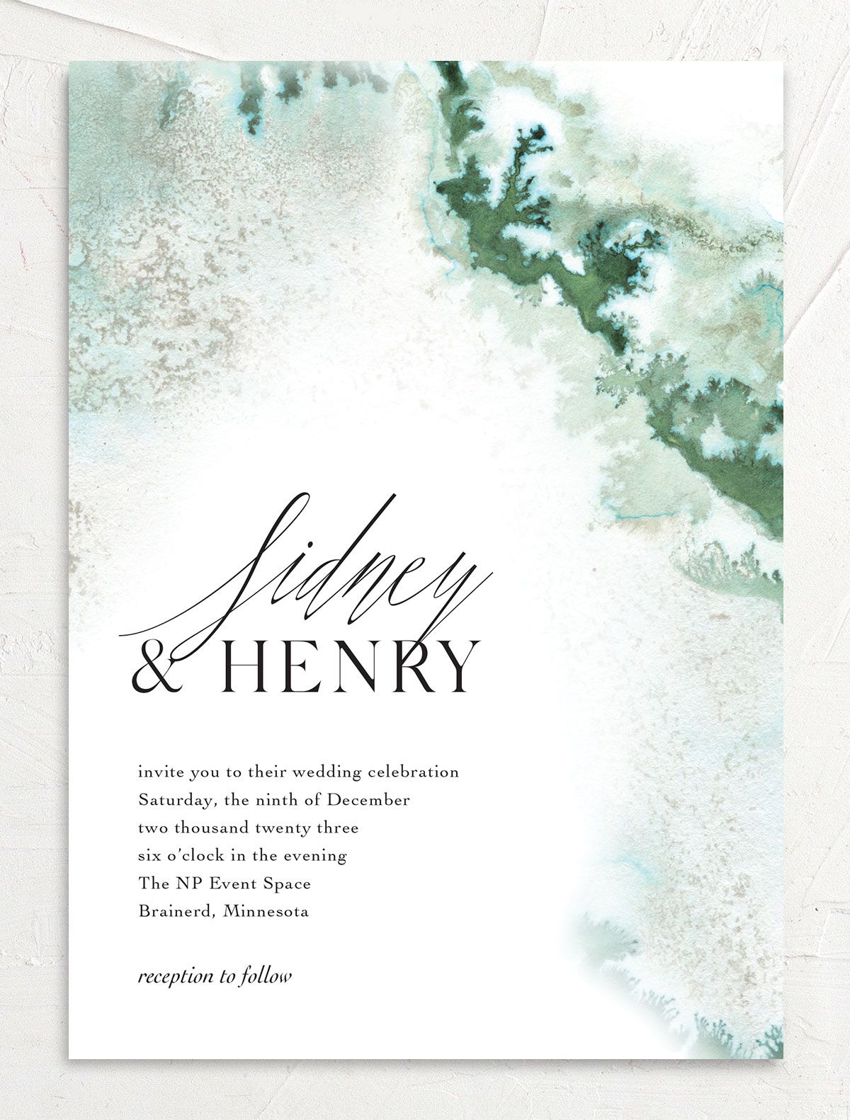 Painted Ethereal Wedding Invitation front green