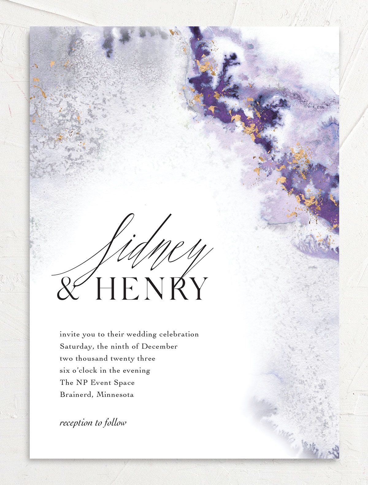 Painted Ethereal Wedding Invitation front purple