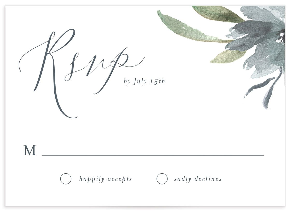 Muted Floral Wedding Response Card front blue