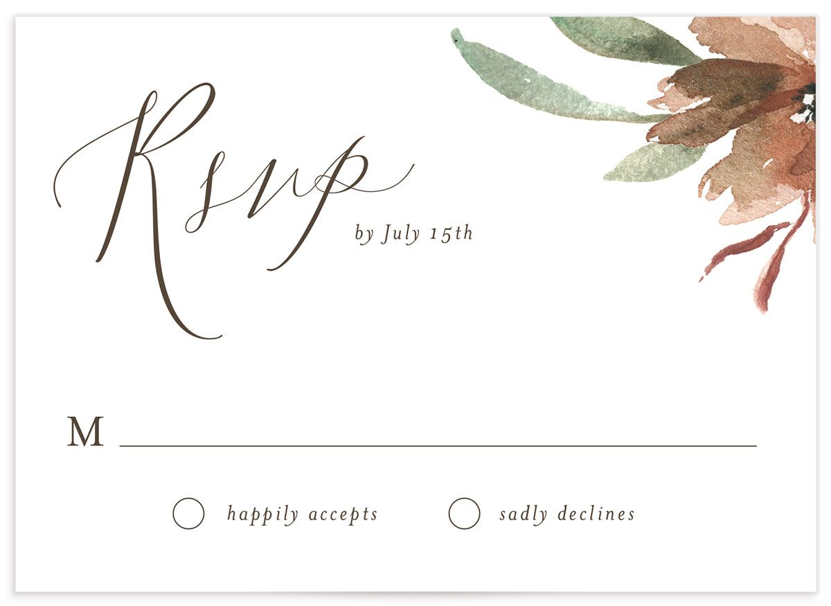 Muted Floral Wedding Response Card front copper