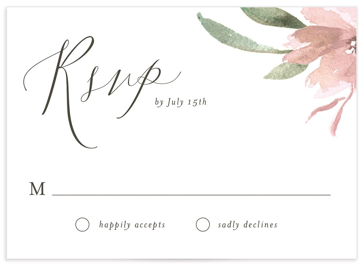 Muted Floral Wedding Response Card front pink