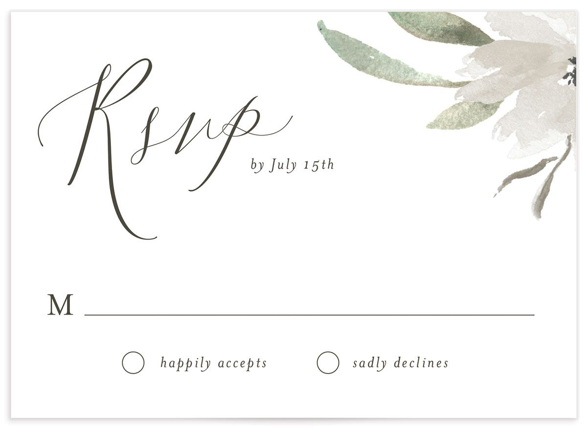Muted Floral Wedding Response Card front white