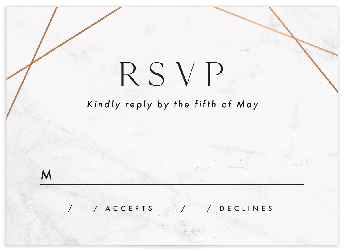 Geometric Marble Wedding Response Card front