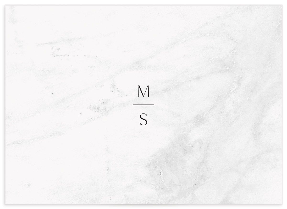 Geometric Marble Wedding Response Card back