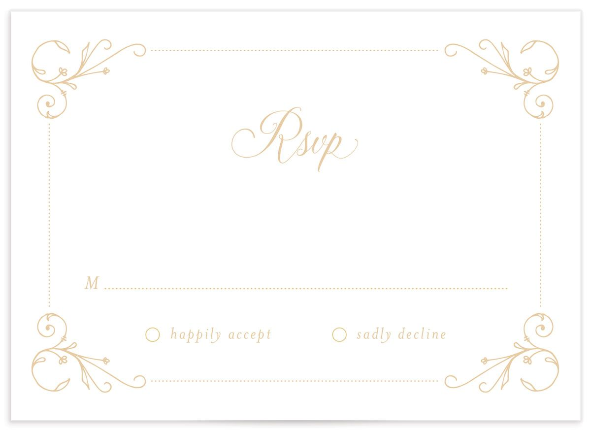 Vintage Luxe Wedding Response Card Back Blue
