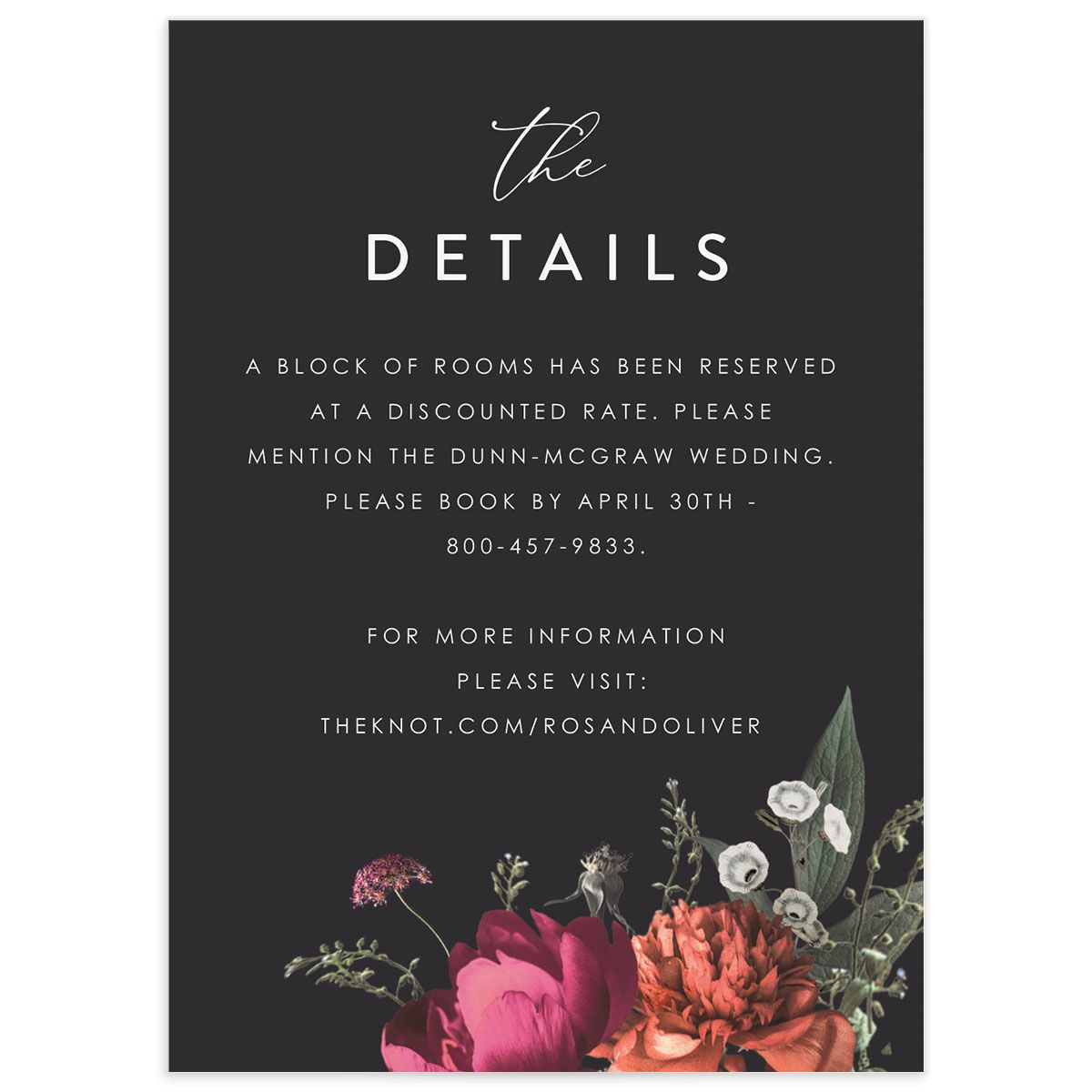 Blooming Botanical wedding details card front black