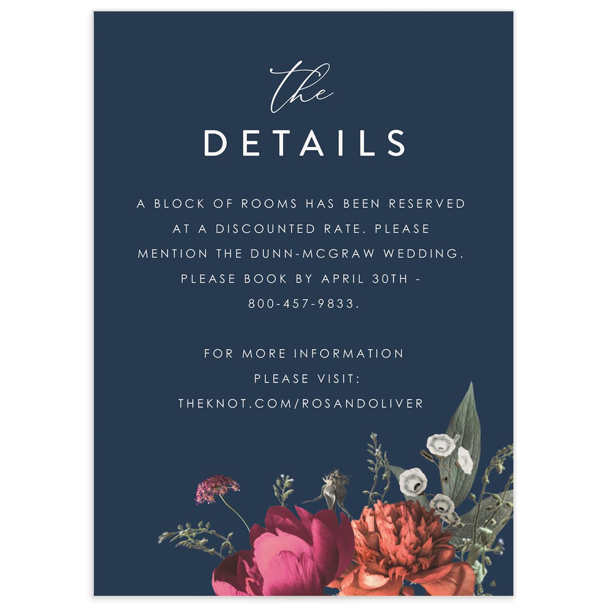 Blooming Botanical wedding details card front navy