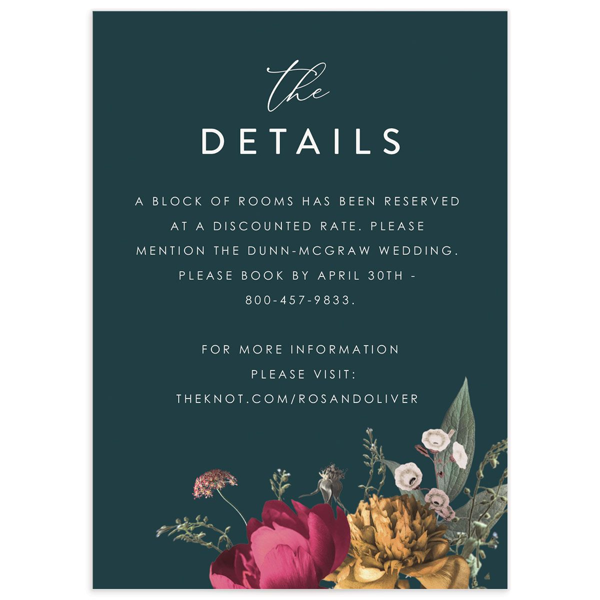 Blooming Botanical wedding details card front teal