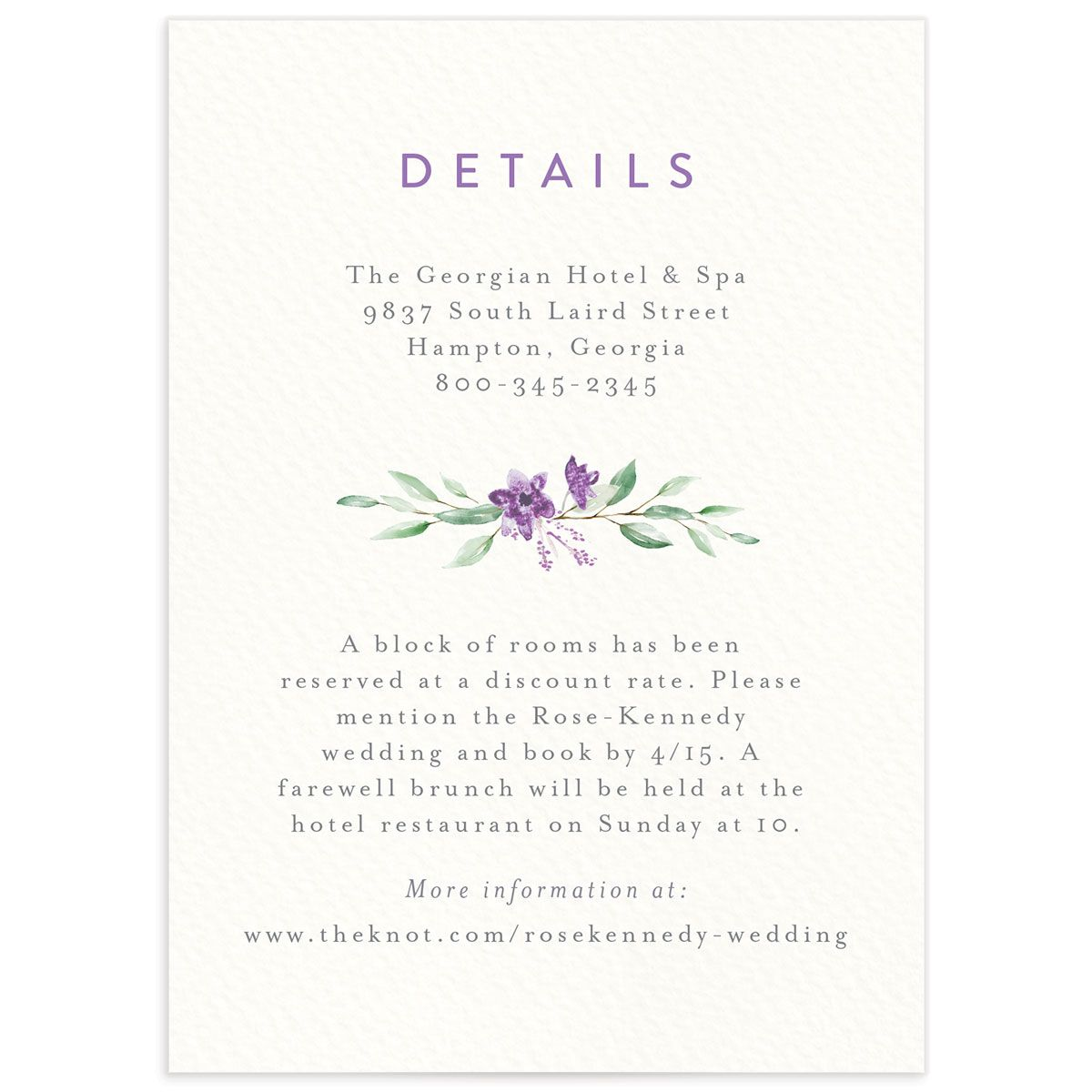 Watercolor Crest enclosure card front purple