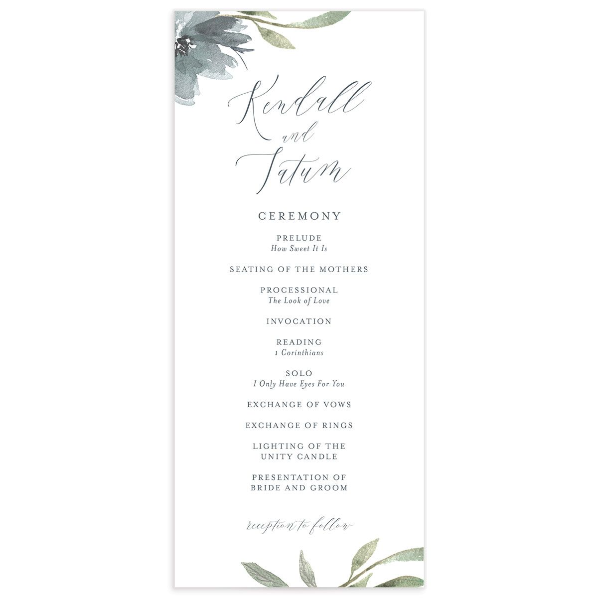 Muted Floral Wedding Program front blue