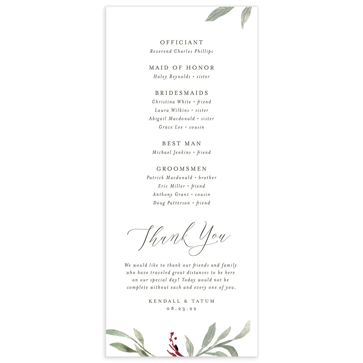 Muted Floral Wedding Program back berry