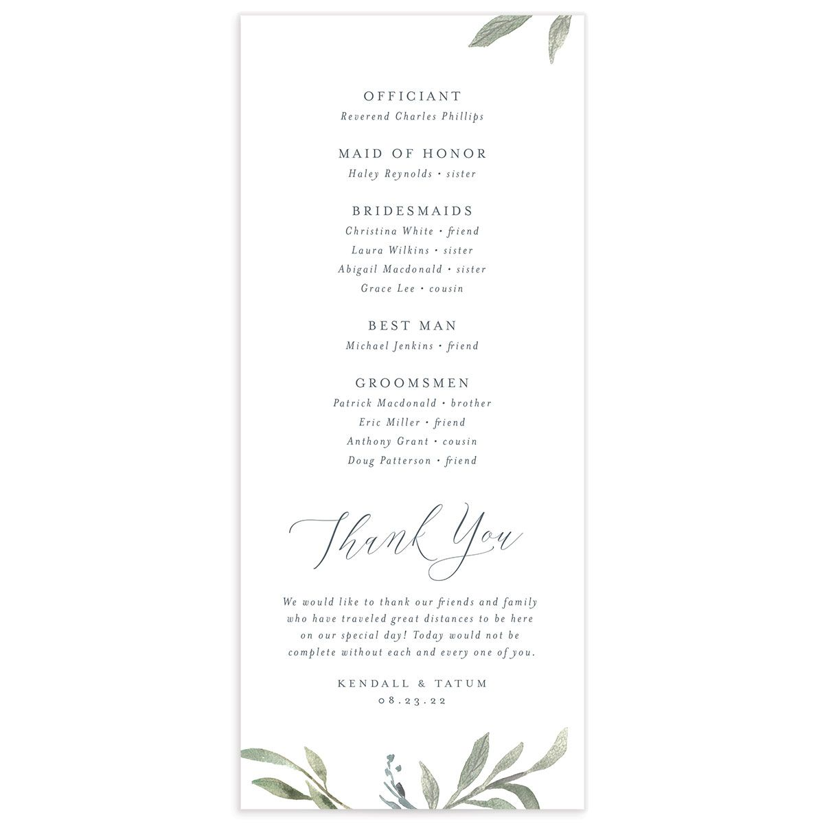 Muted Floral Wedding Program back blue