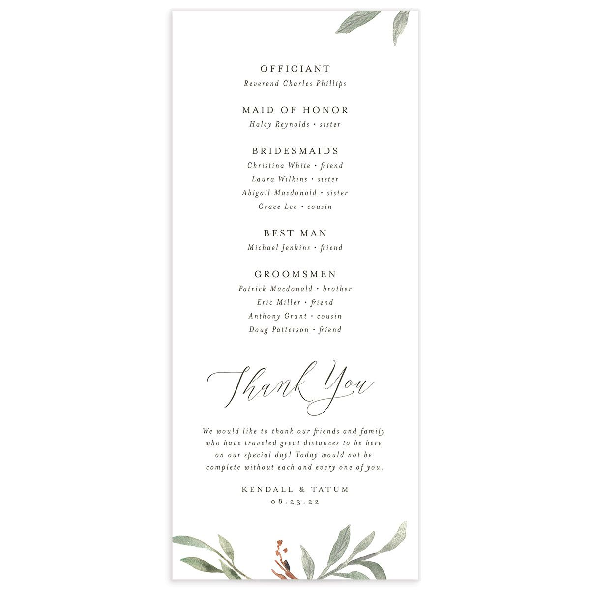 Muted Floral Wedding Program back copper