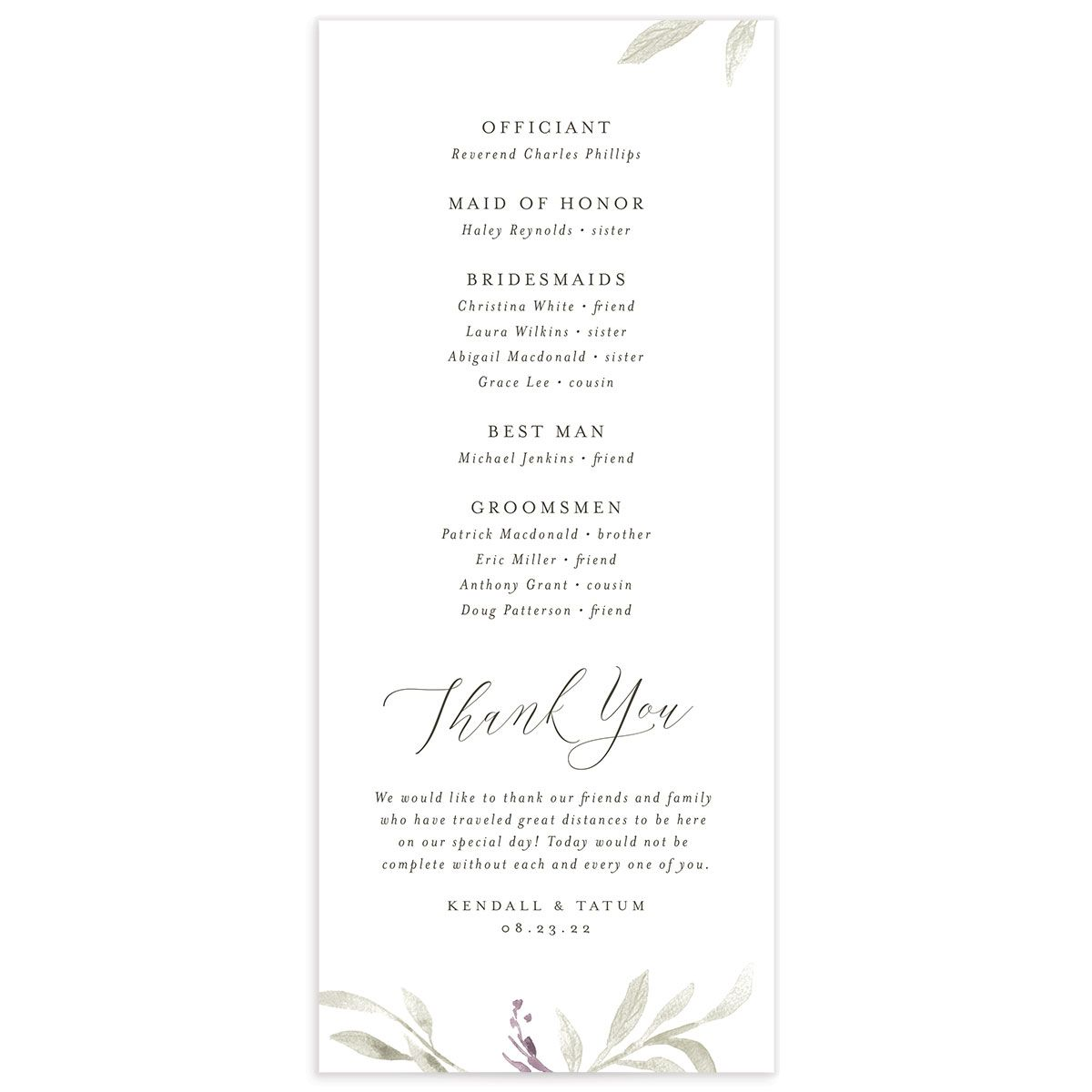 Muted Floral Wedding Program back purple