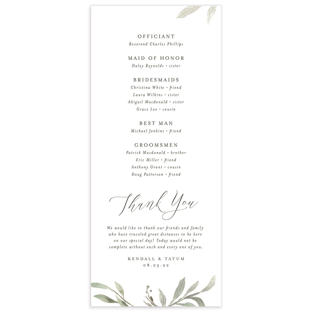Muted Floral Wedding Program back white