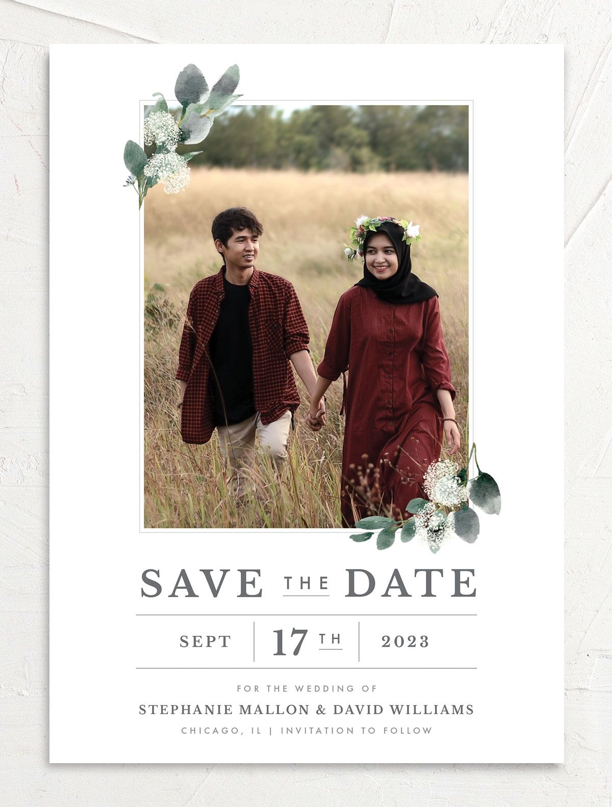 Greenery Branches save the date card front