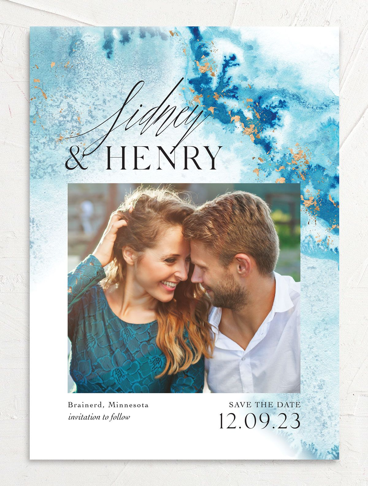Painted Ethereal Wedding Save the Date front blue