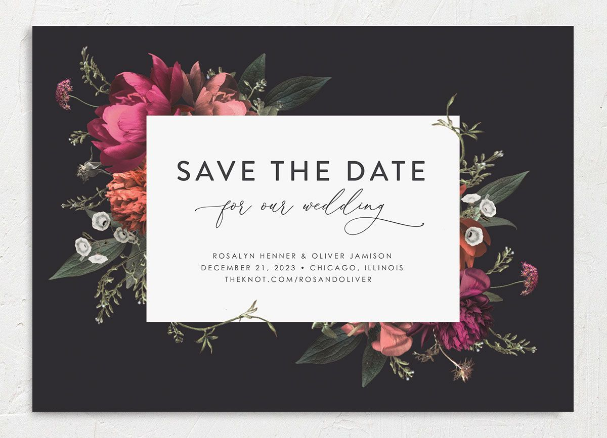 Blooming Botanical save the date closeup black front only