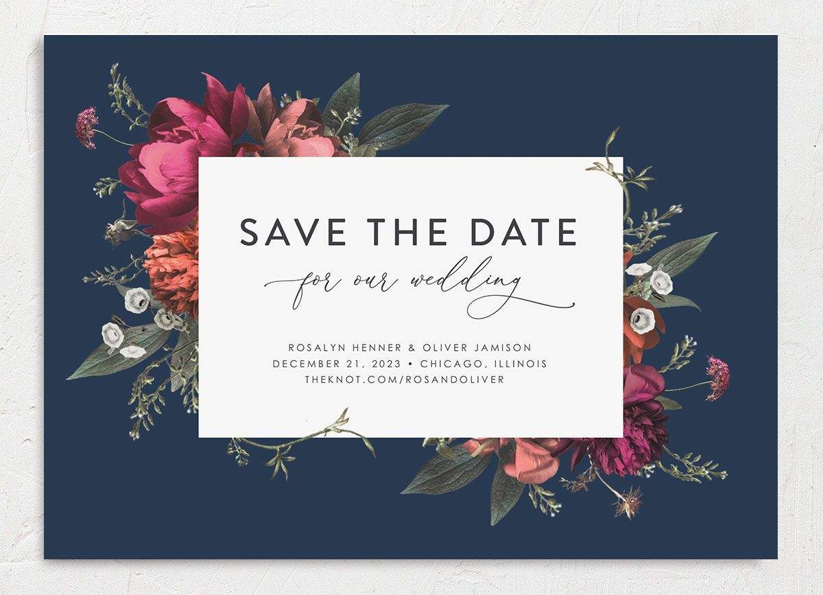Blooming Botanical save the date closeup navy front only